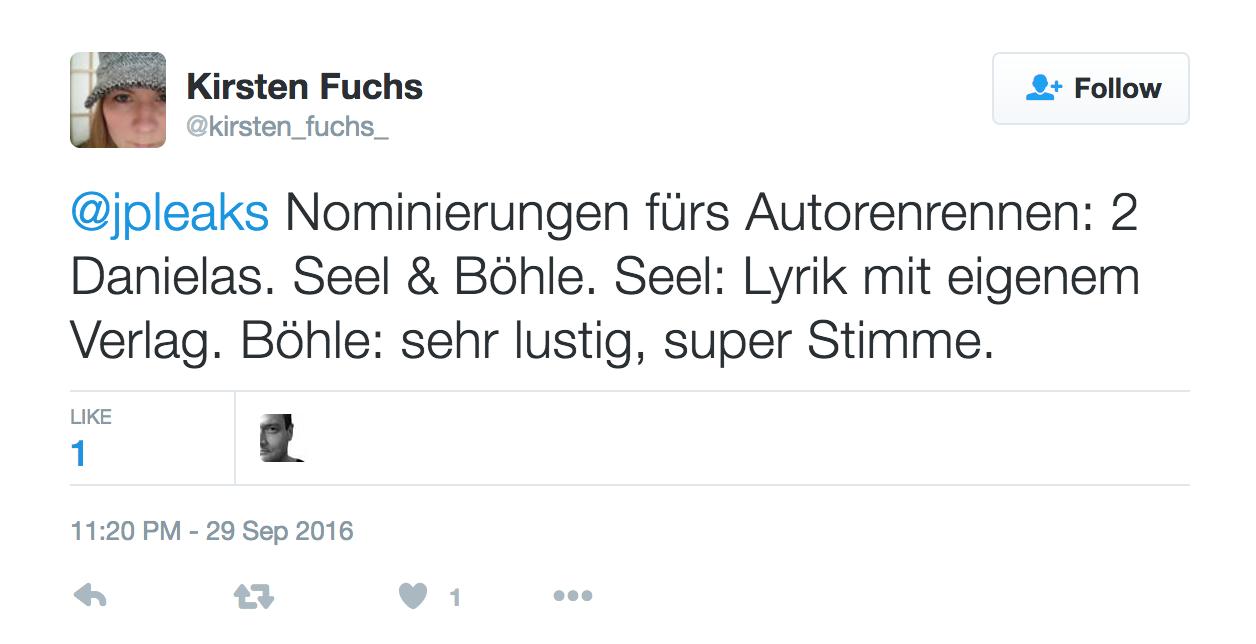 Qualifying Tweet von Kirsten Fuchs.